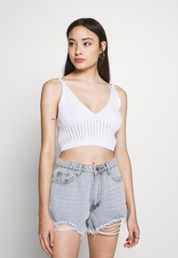 Missguided Petite - V NECK CROP - Top - white - 0