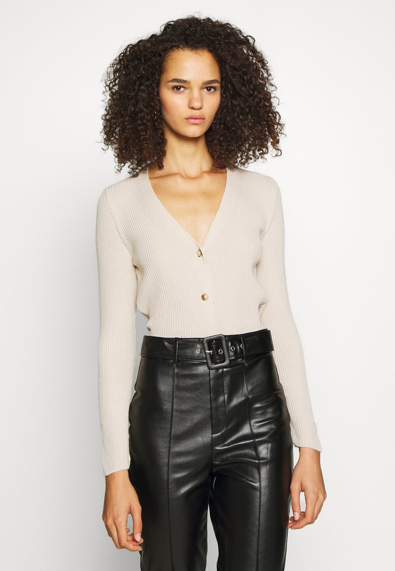 Missguided Tall - SKINNY CROPPED CARDIGAN - Cardigan - beige