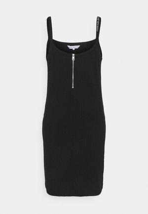 STRAPPY ZIPPER DRESS - Shift dress - black