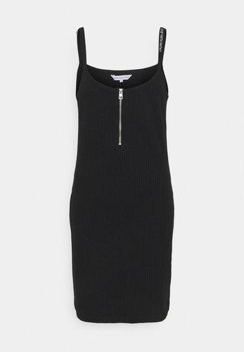 STRAPPY ZIPPER DRESS - Shift dress - black
