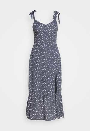 TIE SHOULDER DRESS - Day dress - blue/white