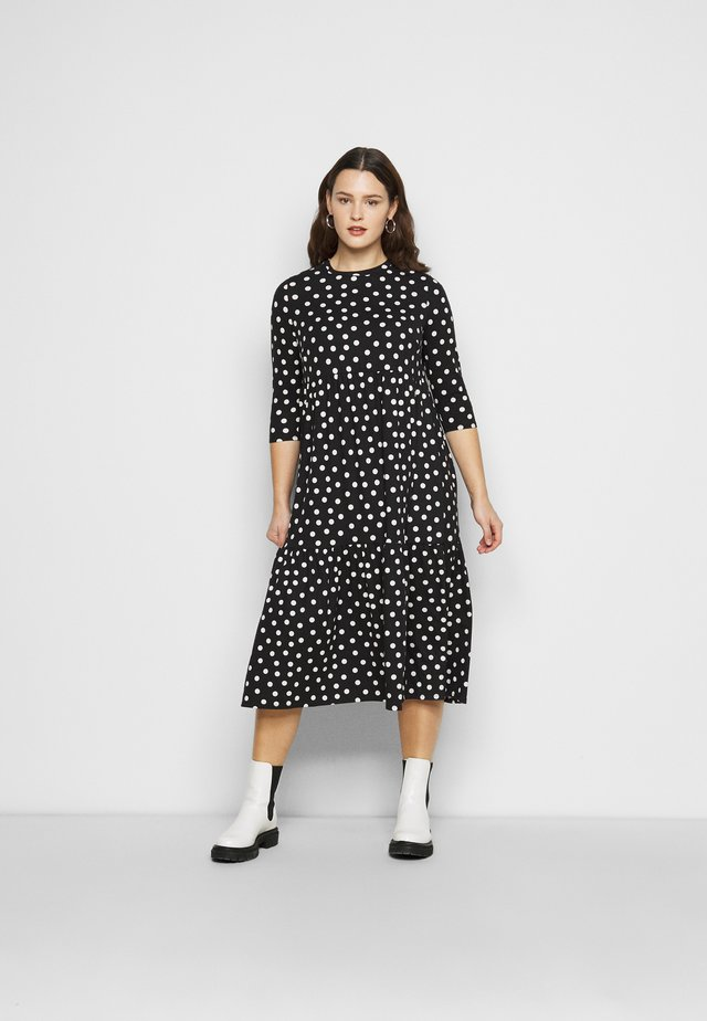 TIERED DRESS - Jersey dress - black