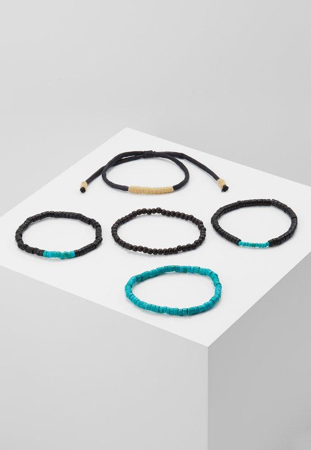 WOODEN MIX 5 PACK - Armband - black/turquoise
