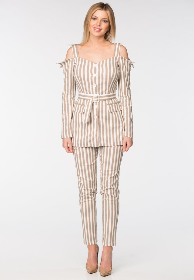 TRISTAN - Trousers - brown & white stripes