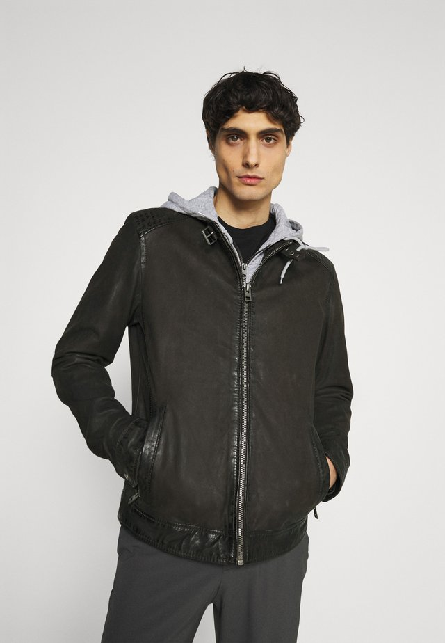 PARK - Leather jacket - antic brown
