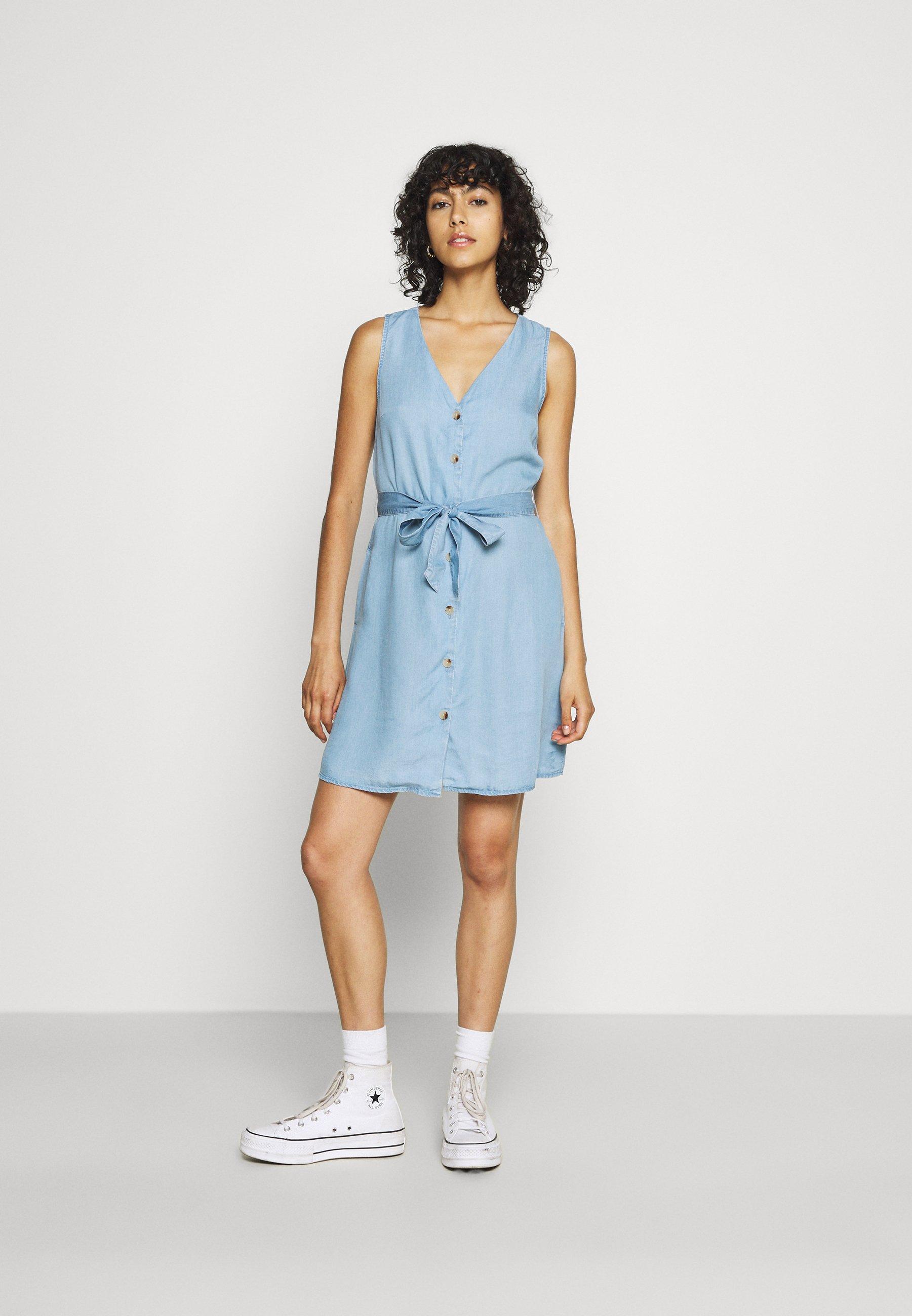 Damer VMVIVIANA SHORT DRESS - Jeanskjole / cowboykjoler