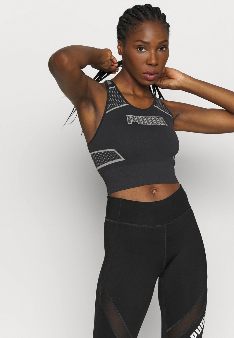 Puma - EVOSTRIPE EVOKNIT CROP - Sports shirt - black