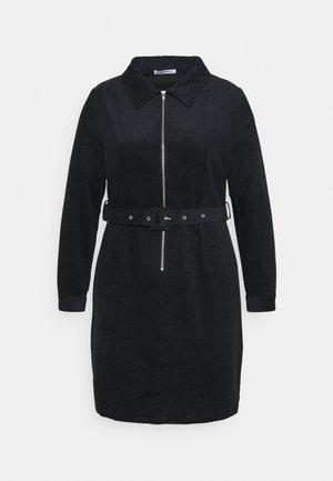 MINI DRESS WITH LONG SLEEVES COLLAR AND BELT - Shirt dress - black