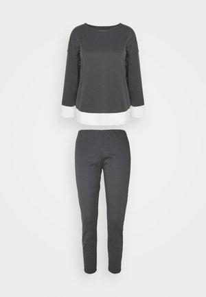 Pyžamo - dark grey melange/offwhite