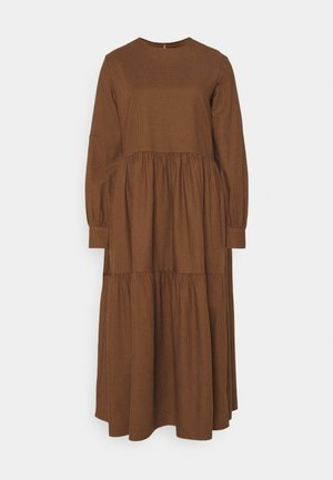 DRESS PUFF LONG SLEEVE - Maxi dress - dark cocoa