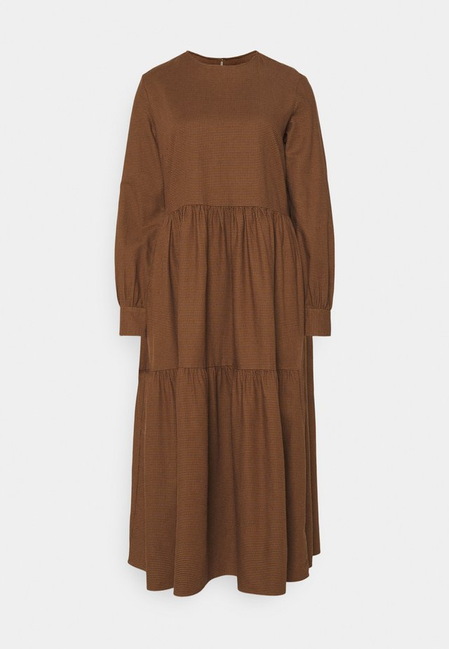 DRESS PUFF LONG SLEEVE - Vestito lungo - dark cocoa