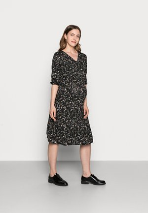 DITSY PRINT SHIRRED WAIST MIDI DRESS - Žerzejové šaty - black