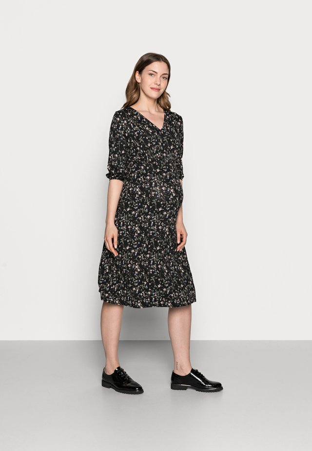 DITSY PRINT SHIRRED WAIST MIDI DRESS - Jerseyklänning - black