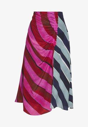 STRIPE GATHERED MIDI SKIRT - Áčková sukně - pink/blue