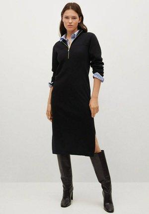 MED GLIDELÅS - Shift dress - svart