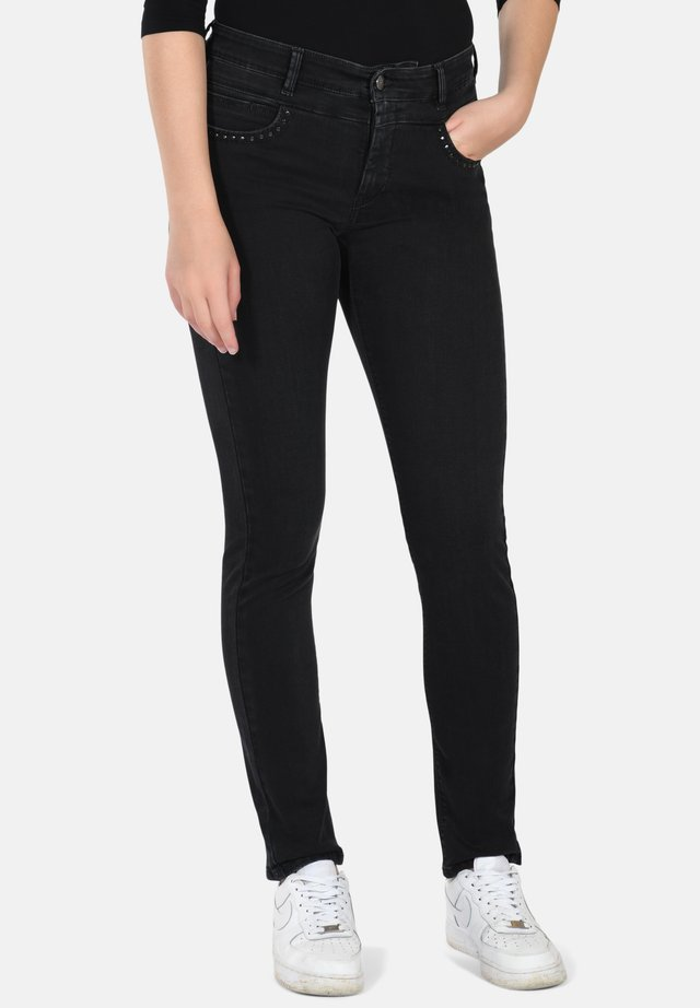 Slim fit jeans - black w. used effect