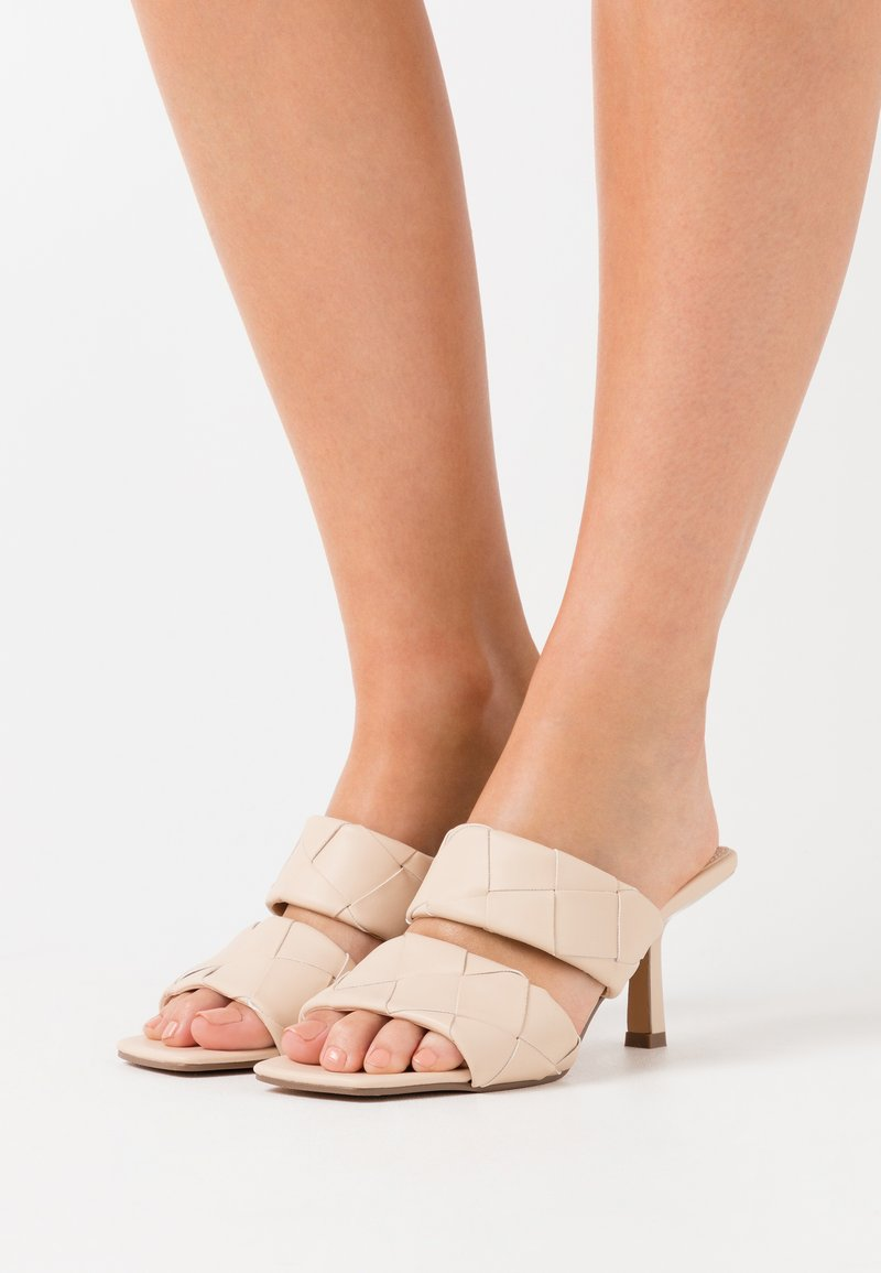NA-KD - BRAIDED DOUBLE STRAP MULE - Heeled mules - nude