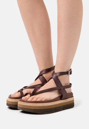 ESTRELLA - T-bar sandals - dark brown