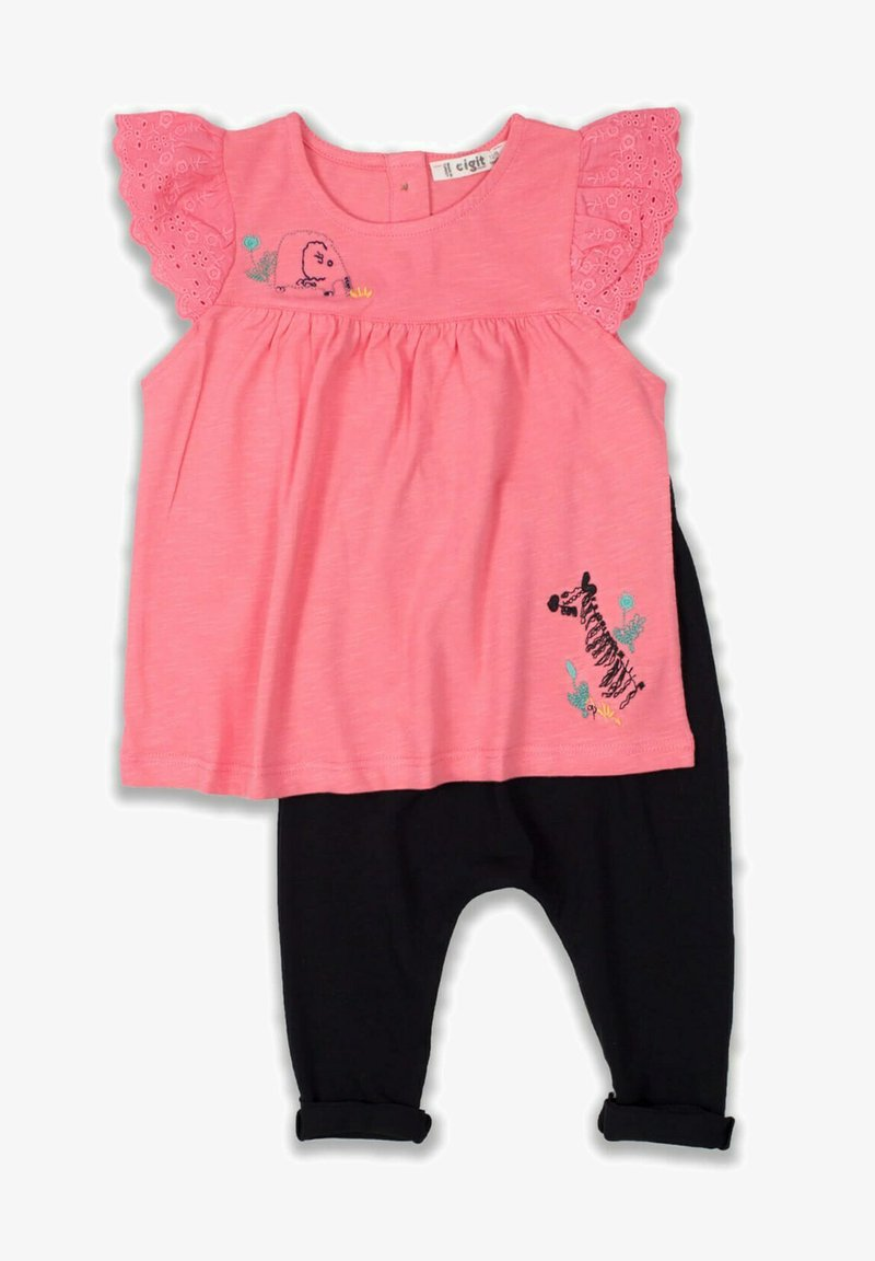 Cigit - T-SHIRT AND LEGGING SET - Collants - neon pink