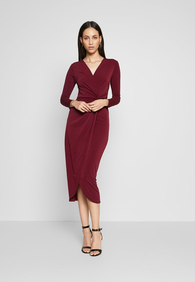 TWIST FRONT BODYCON DRESS - Tubino - plum