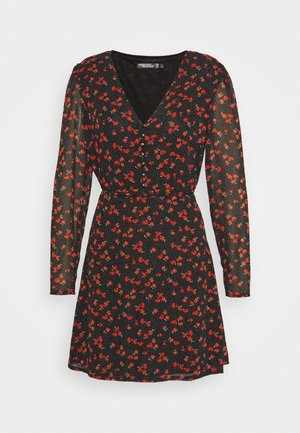 HALF BUTTON TEA DRESS FLORAL - Day dress - black