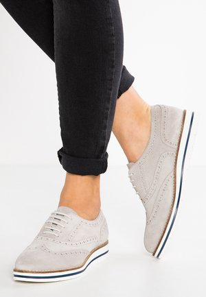 LEATHER FLAT SHOES - Sporty snøresko - light grey
