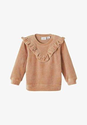 VELOURS RÜSCHEN - Sweatshirt - light brown