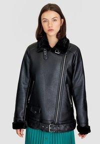 Stradivarius - Faux leather jacket - black - 0