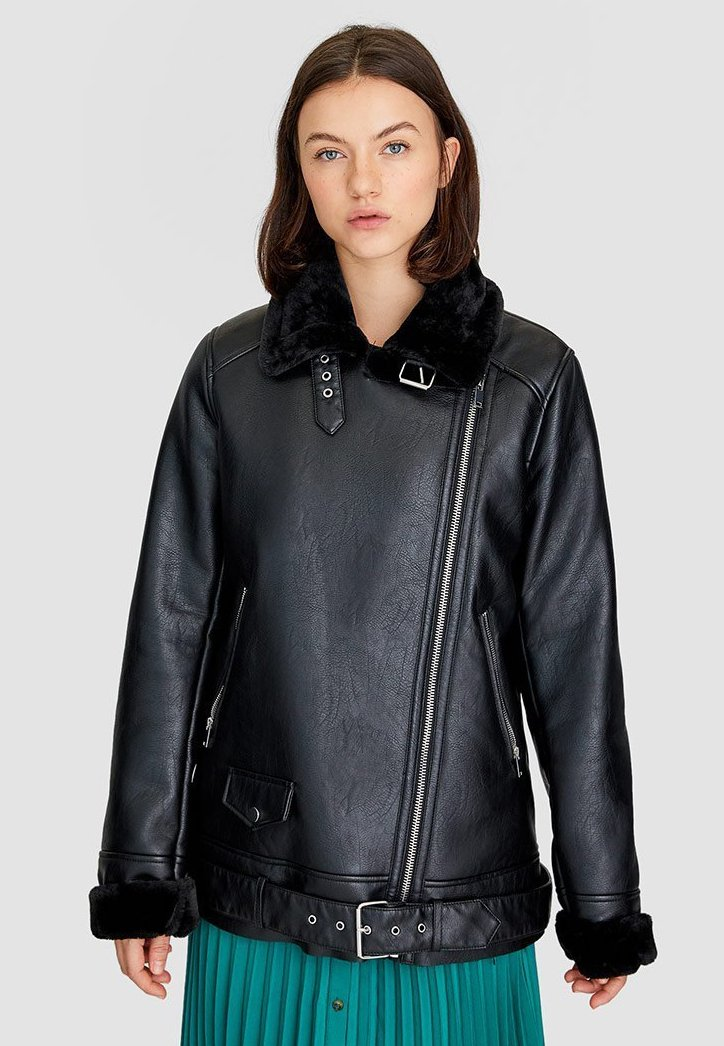 Stradivarius - Faux leather jacket - black