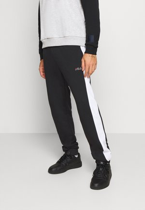 LARS  - Tracksuit bottoms - black/bright white