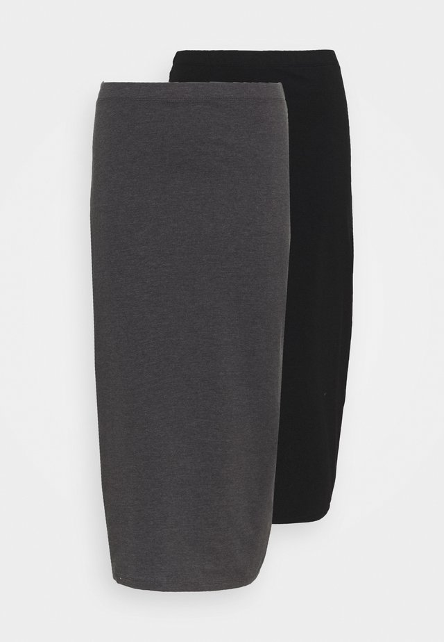 2 PACK - Pencil skirt - black/grey