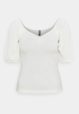 PCLUCY SQUARE NECK CROP - T-shirt con stampa - cloud dancer