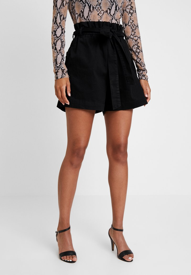 NA-KD - PAPER BAG - Denim shorts - black
