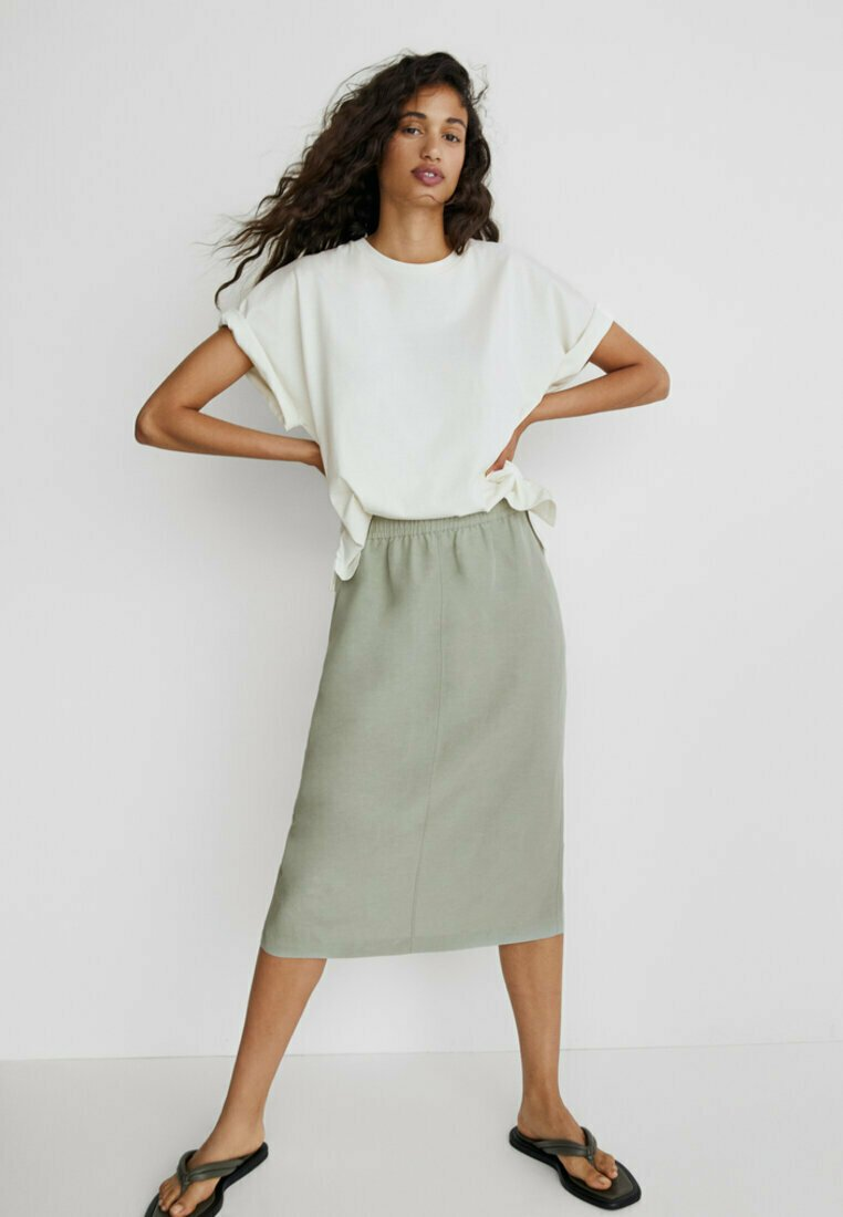 Massimo Dutti - SPORTLICHER - A-line skirt - khaki