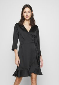 Vero Moda - VMHENNA WRAP DRESS - Cocktail dress / Party dress - black - 0