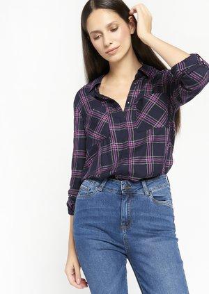 CHECK - Button-down blouse - navy blue