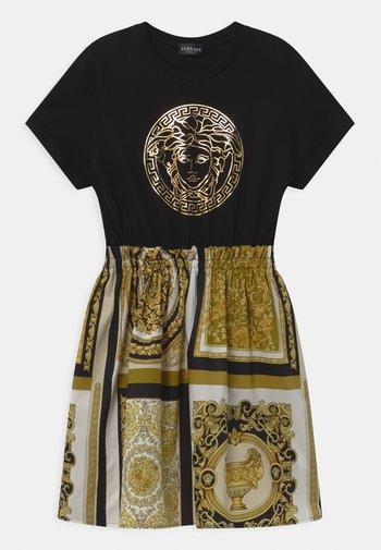 UNITED PATCHWORK HERITAGE PRINT - Jersey dress - black/gold/white