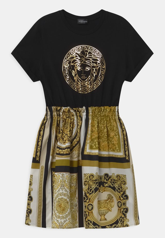 UNITED PATCHWORK HERITAGE PRINT - Robe en jersey - black/gold/white
