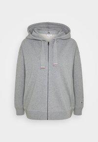 Tommy Hilfiger - OVERSIZED FLAG HOODIE - Zip-up hoodie - light grey heather - 0