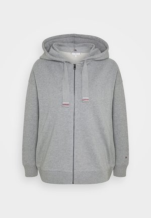 OVERSIZED FLAG HOODIE - veste en sweat zippée - light grey heather