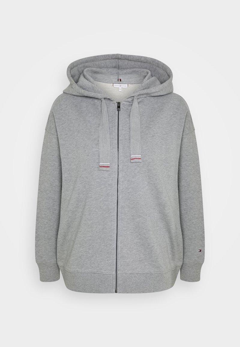 Tommy Hilfiger - OVERSIZED FLAG HOODIE - Zip-up hoodie - light grey heather