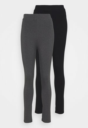 2 PACK HIGH WAISTED LEGGINGS - Leggings - black/mottled dark grey