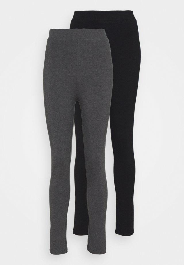 2 PACK HIGH WAISTED LEGGINGS - Leggings - black/mottled dark grey