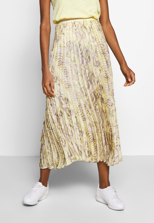 PLISSEE SKIRT WITH SNAKE PRINT - Maxi skirt - light lemon