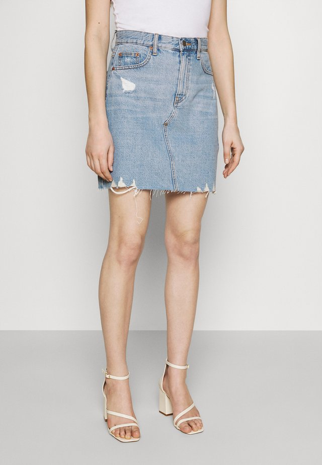 ECHO SKIRT - Mini skirt - empress light blue ripped