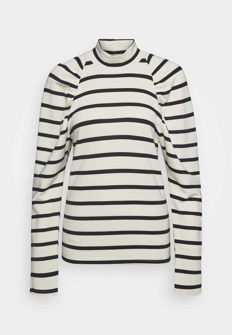 Gestuz - RIFELLA STRIPE TURTLENECK - Sweatshirt - black/white