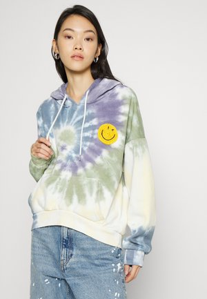 TIE DYE HOODIE WITH CROCHET APPLIQUE - Sweatshirt - multi