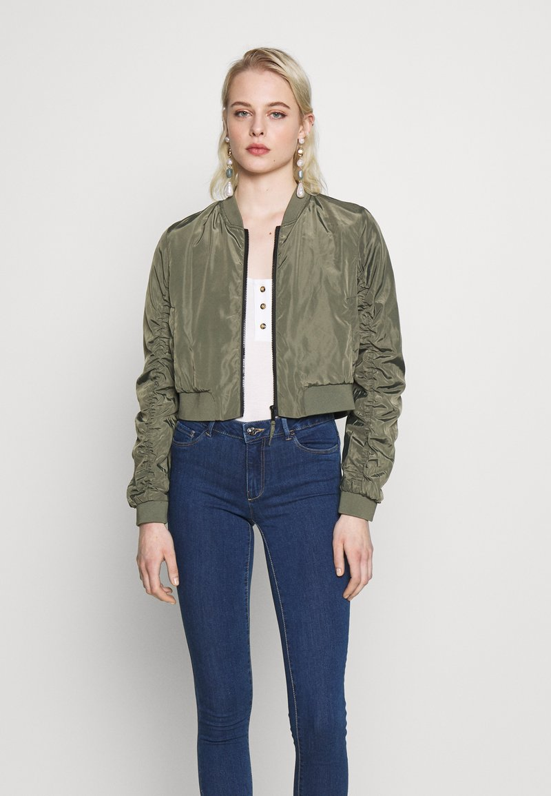 Noisy May - NMSADIE CROP JACKET - Chaquetas bomber - dusty olive