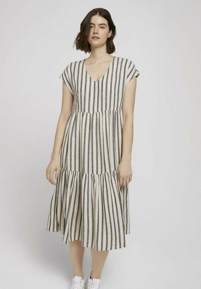 Korte jurk - black beige stripe