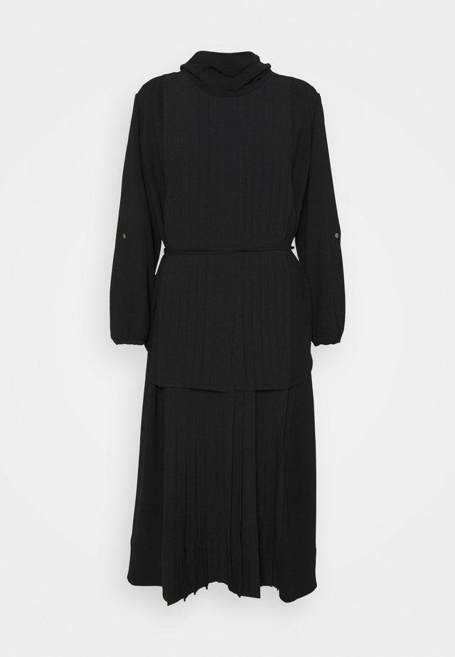 KNIFE PLEATING LAYERED DRESS - Maxi-jurk - black